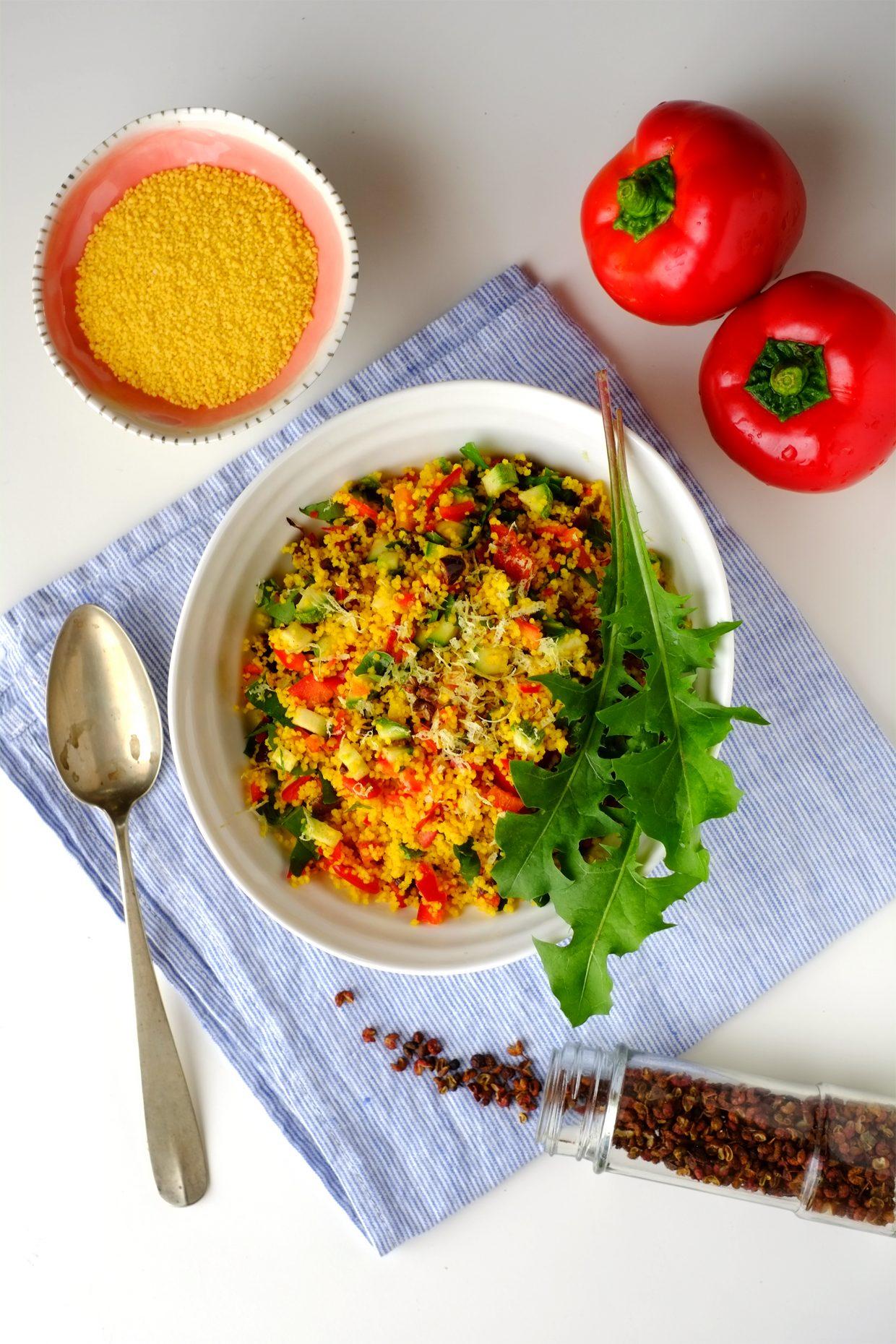 Cous cous freddo con verdure estive e tarassaco al pepe di Sichuan 28
