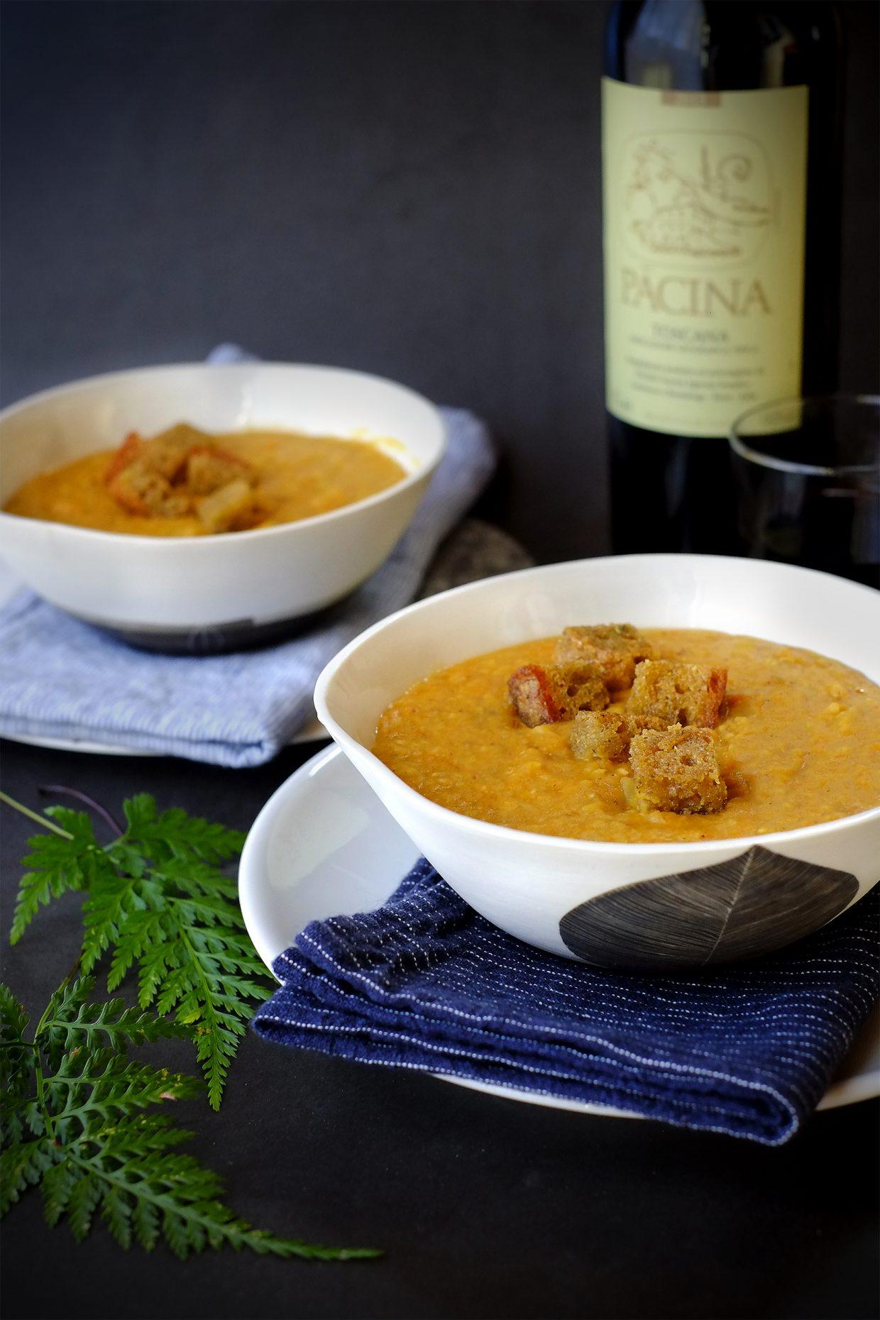 Crema di zucca mantovana e lenticchie rosse con crostini aromatici 6